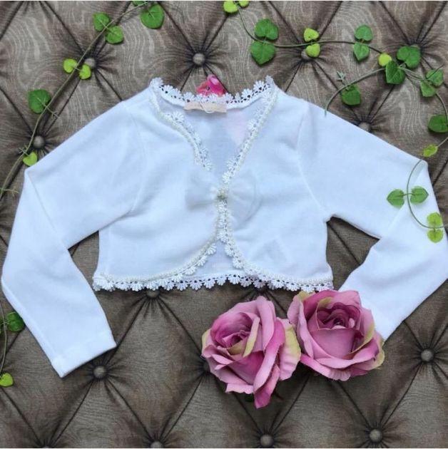 Bolero Infantil Off White Laço Petit Cherie