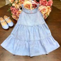 Vestido Infantil Trançado Jeans Mon Sucre