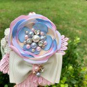 Arco Infantil Bordado com Pedrarias Luxo Peônia Rosa e Azul Euro Baby