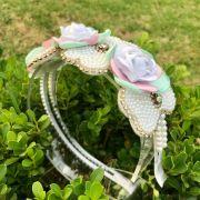 Arco Infantil Bordado com Pedrarias Violets Rosa e Verde Euro Baby