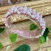 Arco Infantil Bordado com Péolas Luxo Rosê Gold e Off White Euro Baby