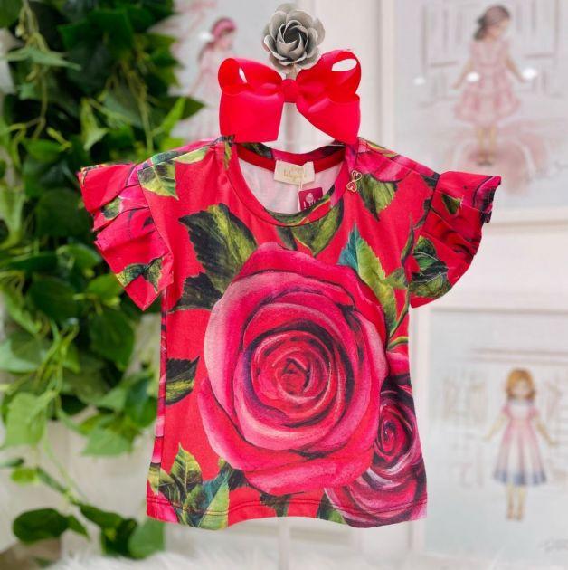 Blusa Infantil Filha Rosas Vermelhas Luluzinha