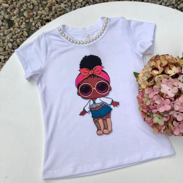 Blusa Infantil Branca Estampada LOL Boho Chic Euro Baby