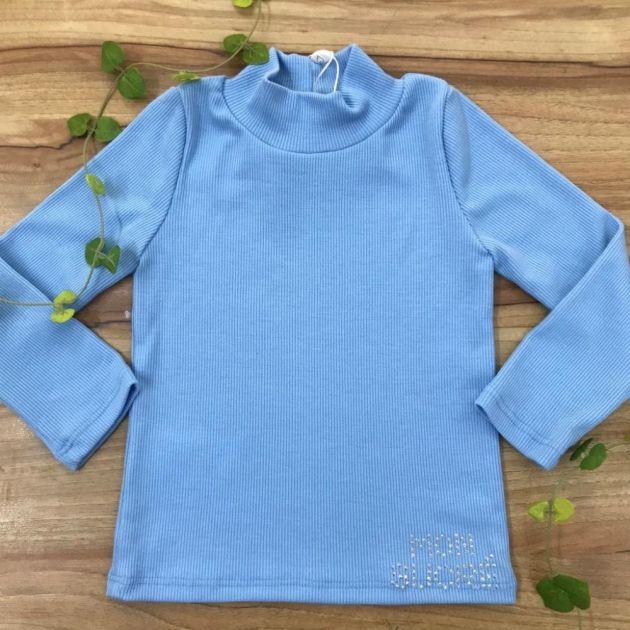 Blusa Infantil Canelada Azul Basic Mon Sucré