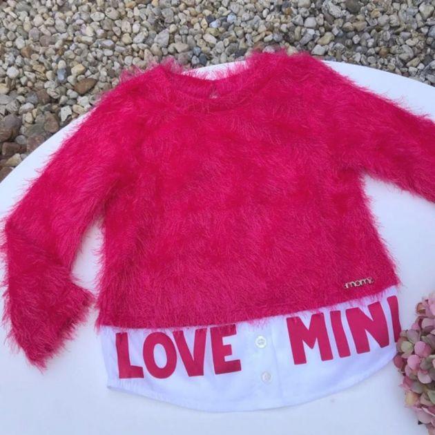 Blusa Infantil com Pelúcia Pink Fluffy Momi