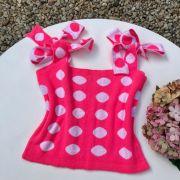 Blusa Teen Cropped Rosa Neon de Poá Euro Baby
