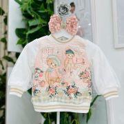 Blusa Infantil de Moletom Texturizado Off White Ursinhos Petit Cherie