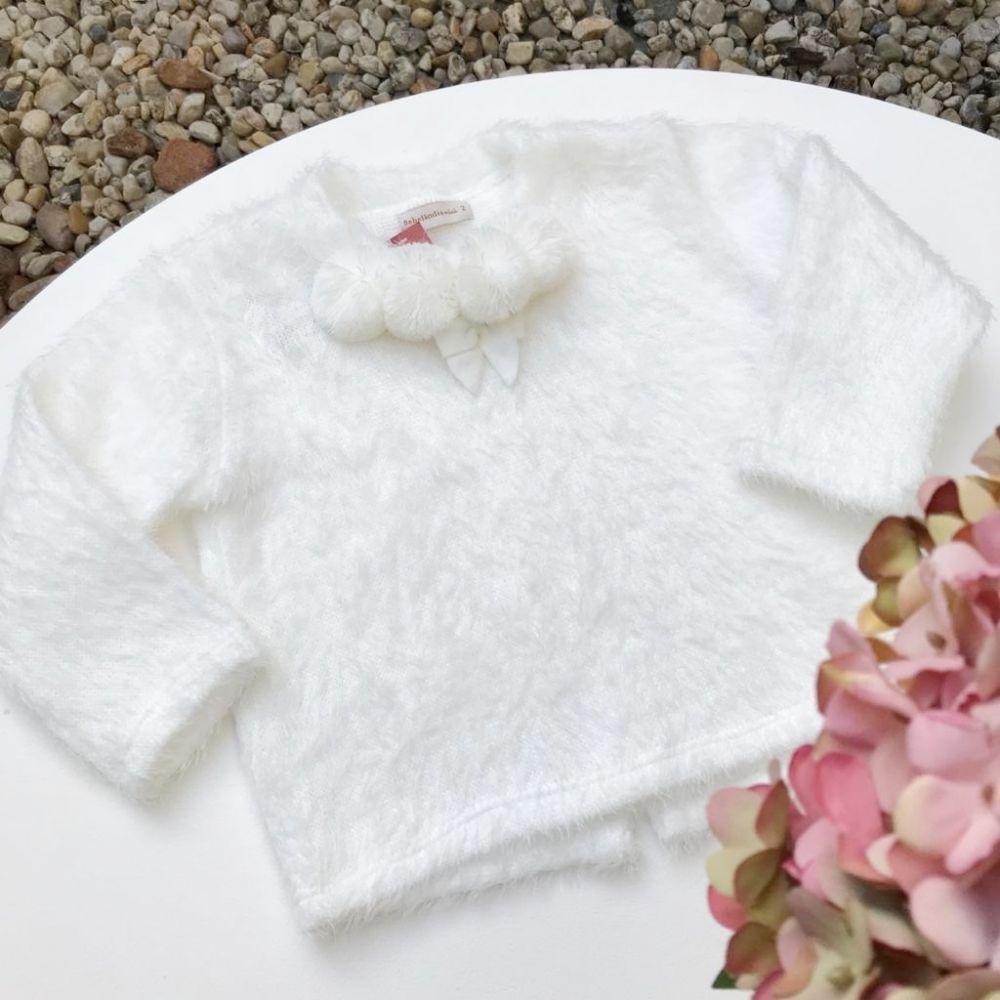 Blusa Infantil de Pelinhos Off White Bebelândia