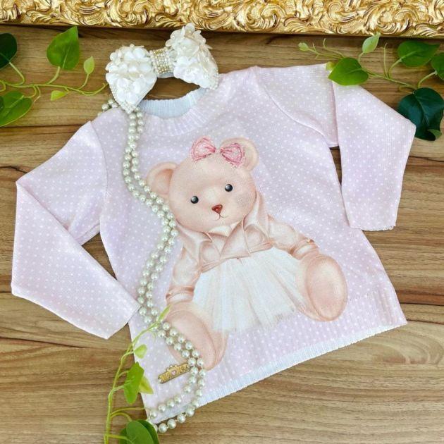 Blusa Infantil de Tricot Rosa com Strass Ursinha Elegante Yoyo