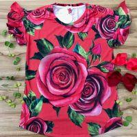 Blusa Mãe Mangas com Babados Rosas Explêndidas Vermelha Luluzinha
