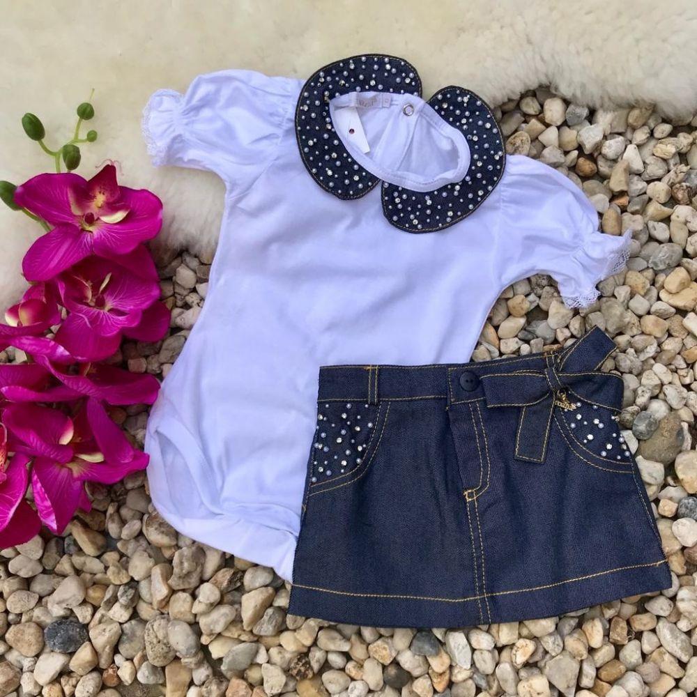 2588c15e9 Conjunto Infantil Body Branco Com Perolas E Saia Jeans Roana na Euro ...