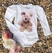 Body Infantil com Strass Bela Ursinha Branco YoYo