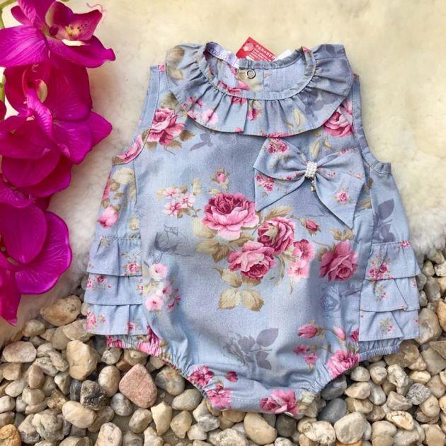 Body Infantil Floral Cinza com Laço Roana