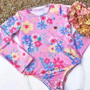 Body Infantil Flores do Campo Rosa Mon Sucré