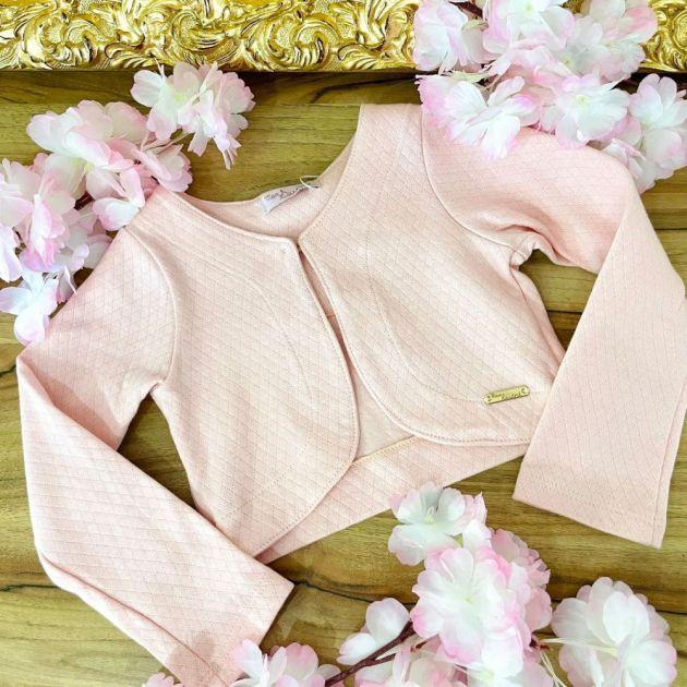Bolero Infantil Malha Piquet Rosa Mon Sucré