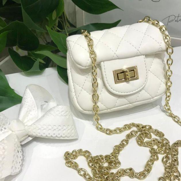 Bolsa Infantil Branca Chanel Inspired Luxo Euro Baby