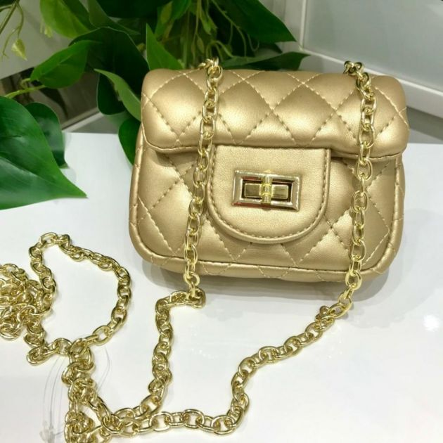Bolsa Infantil Dourada Chanel Inspired Luxo Euro Baby