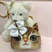 Bolsa Infantil Formato de Gatinho com Lacinho e Pérolas Modelo 1 Euro Baby