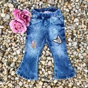 Calça Infantil Jeans com Patch Gatinho e Coelinho Azul Gabriela Aquarela