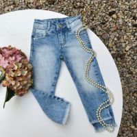 Calça Infantil Jeans Skinny Delavê com Barra Assimétrica Mon Sucré