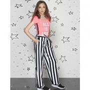 Calça Teen Pantalona Listrada Preta e Branca Fashion Stripes Perfumaria
