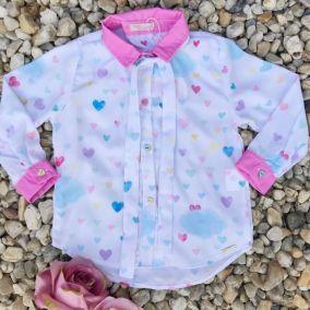 d2825f1cee Camisa Infantil Corações Multicoloridos Mon Sucré