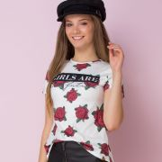 Camiseta Teen Estampa de Rosas Girls Are The Future Branca Vanilla Cream
