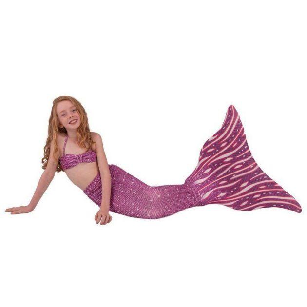 Conjunto Infantil Cauda de Sereia Infantil Roxa e Branca Princesa dos Corais Sirenita