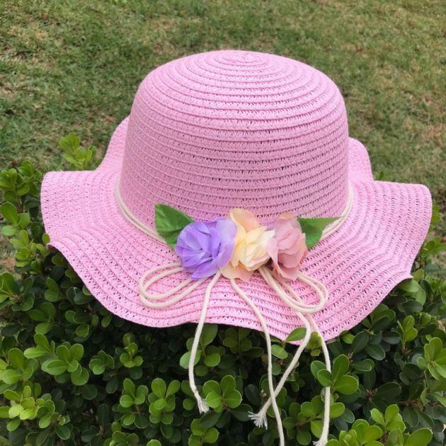 Chapéu Infantil de Palha Rosa com Flores Cute Summer Euro Baby