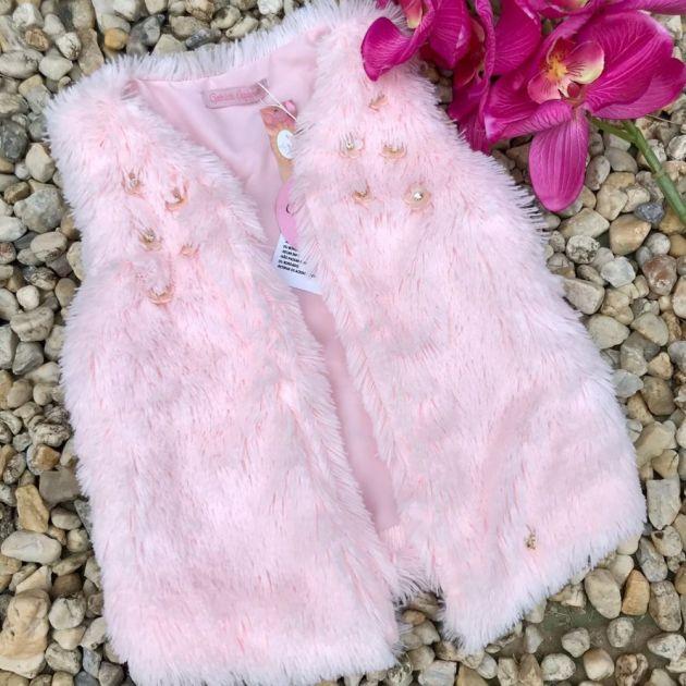 Colete Infantil de Pelúcia Candy Flowers Rosa Gabriela Aquarela