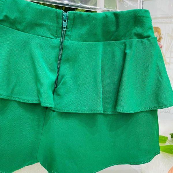 Conjunto Infantil Bata de Alça e Shorts Verde Babados Turminha da Mônica Memes Mon Sucré