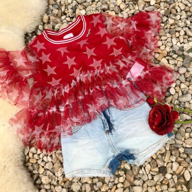 Conjunto Infantil Bata de Tule e Shorts Jeans Estrelas Fantásticas Vermelho Luluzinha