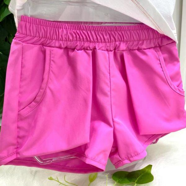 Conjunto Infantil Blusa Branca e Amarelo Neon e Shorts Rosa Fluor Nice Vibes Mon Sucré