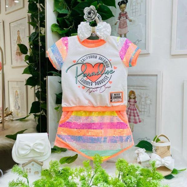 Conjunto Infantil Blusa Branca Furinhos e Shorts Saia Laranja Bordado com Paetês Colors Petit Cherie
