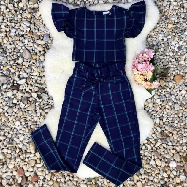 Conjunto Infantil Blusa e Calça Afaiataria Xadrez Azul e Verde Luluzinha