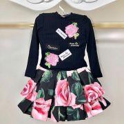 Conjunto Infantil Blusa e Saia Floral de Fundo Preto Pituchinhus
