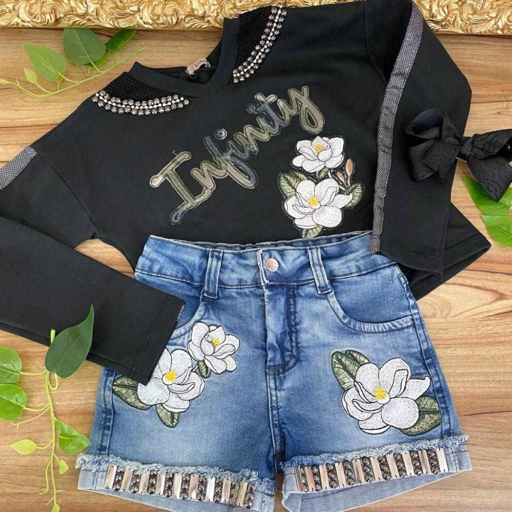 Conjunto Infantil Blusa e Shorts Jeans Bordado com Pedrarias Infinity Flowers Kukixo