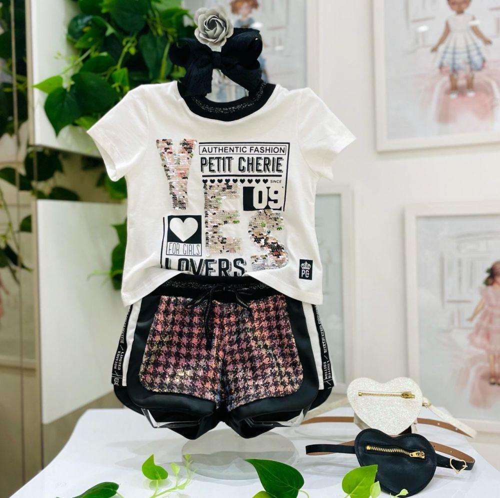 Conjunto Infantil Blusa e Shorts Preto e Branco Paêtes Glamour Authentic Princess Petit Cherie
