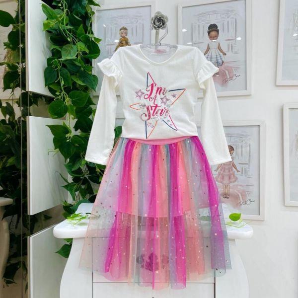 Conjunto Infantil Blusa Manga Longa Canelada Eu Sou Uma Estrela e Saia Midi Tutu Candy Colors com S