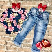 Conjunto Infantil Blusa Manga Longa e Calça Jeans Ursinha Princesa Pituchinhus