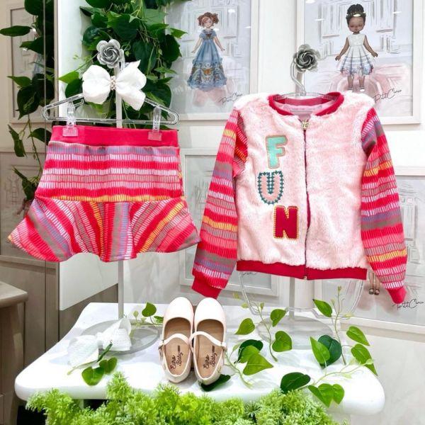 Conjunto Infantil Blusa Manga Longa Plush e Shorts Saia Vermelho Colors Fun Mon Sucré