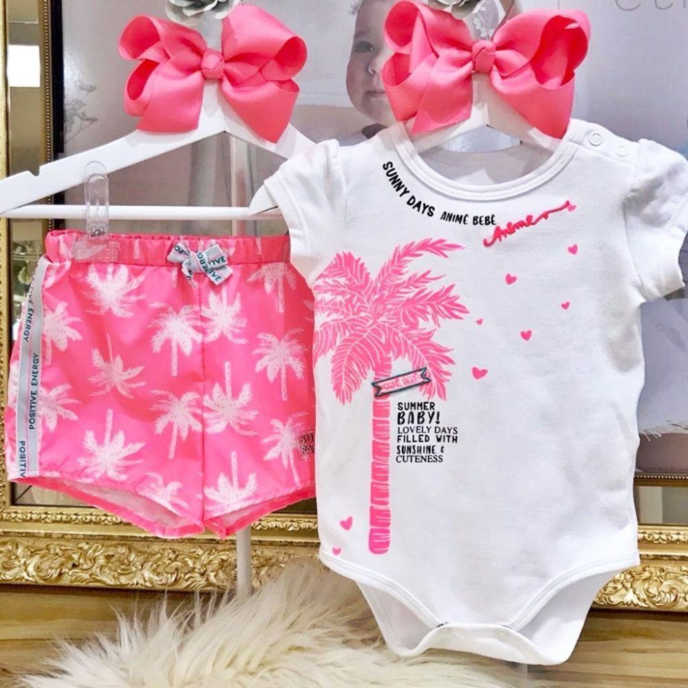 Conjunto Infantil Body Branco e Shorts Rosa Neon Coqueiros Summer Baby Animê