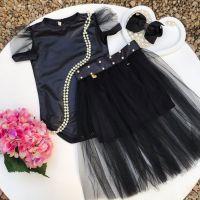 Conjunto Infantil Body e Saia de Tule Preto Fashion Princess Yoyo