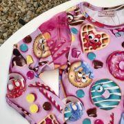 Conjunto Infantil Body e Saia Estampado Candy Party Mon Sucré