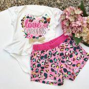 Conjunto Infantil Body e Shorts Oncinha Colors Mon Sucré