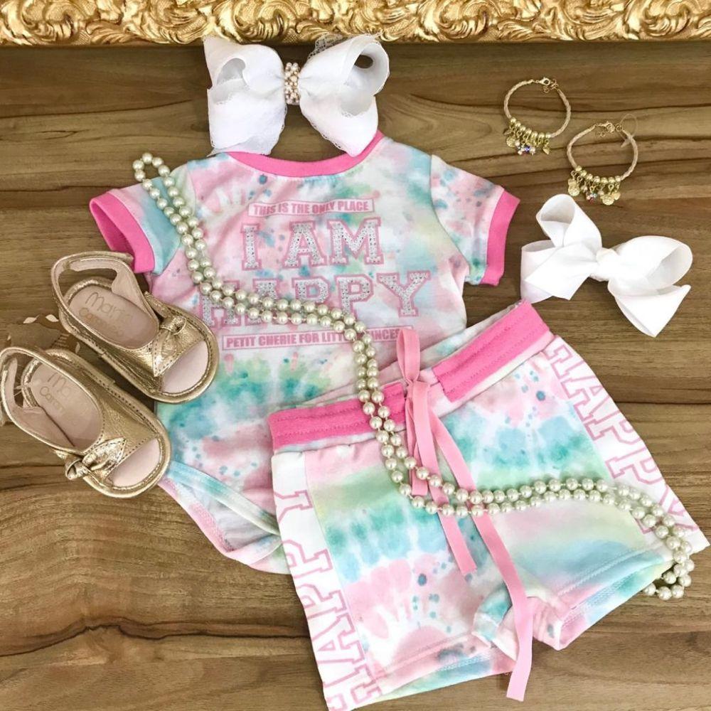 Conjunto Infantil Body e Shorts Tie Dye Rosa Happy Place Petit Cherie