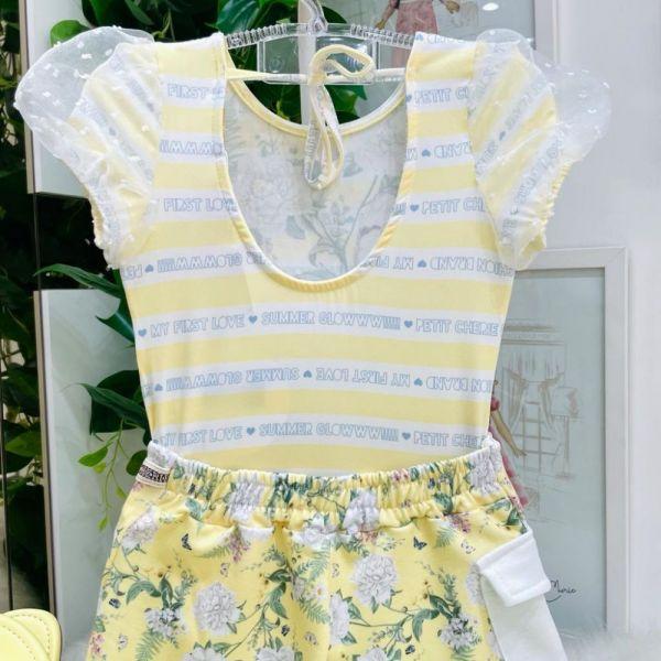 Conjunto Infantil Body Manga Bufante Tule e Shorts Saia Amarelo Flores Summer Glow Petit Cherie