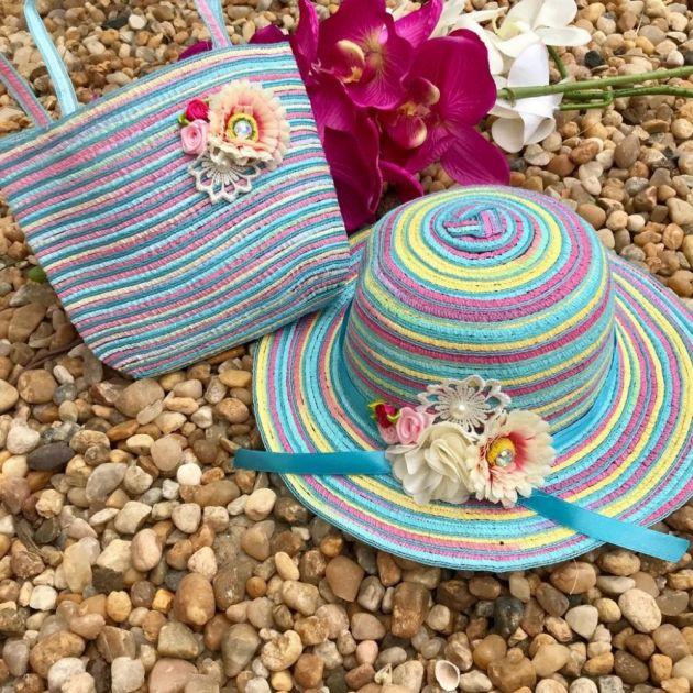 Conjunto Infantil Bolsinha e Chapéu de Palha Rainbow Flowers Azul Euro Baby