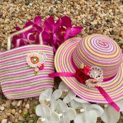 Conjunto Infantil Bolsinha e Chapéu de Palha Rainbow Flowers Rosa Baby
