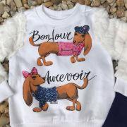Conjunto Infantil Cachorro Bonjour Off White Momi